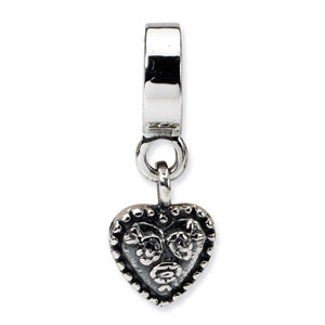 Sterling Silver Filigree Heart Dangle Bead