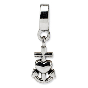 Sterling Silver Heart, Cross, Anchor Dangle Bead