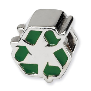 .925 Sterling Silver Enameled Recycle Symbol Bead