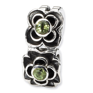 Sterling Silver Green CZ Connector Bead