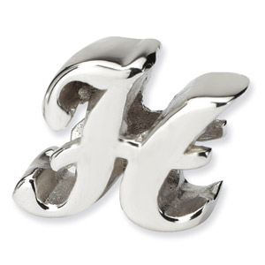 .925 Sterling Silver Letter H Script Bead