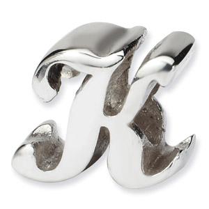 .925 Sterling Silver Letter K Script Bead