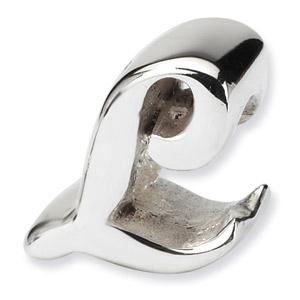 .925 Sterling Silver Letter L Script Bead