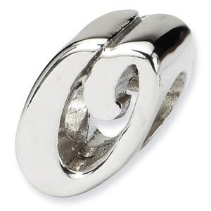.925 Sterling Silver Letter O Script Bead