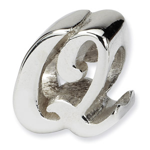 .925 Sterling Silver Letter Q Script Bead