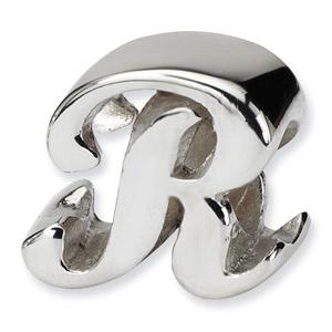 .925 Sterling Silver Letter R Script Bead
