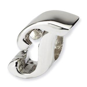 .925 Sterling Silver Letter T Script Bead
