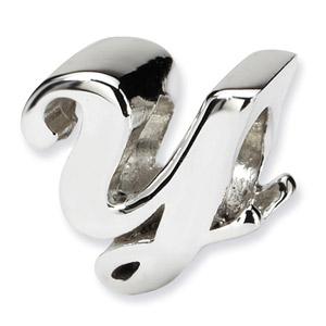 .925 Sterling Silver Letter Y Script Bead