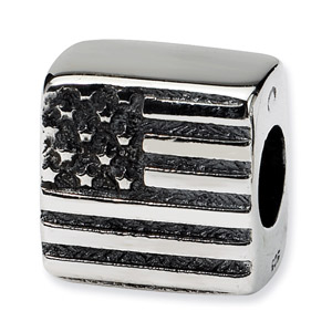 American Flag Bead in Sterling Silver