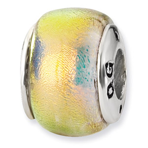 Sterling Silver Orange Dichroic Glass Bead