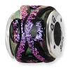 Purple Dichroic Glass and .925 Sterling Silver Bead