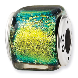 Sterling Silver Yellow Dichroic Glass Square Bead