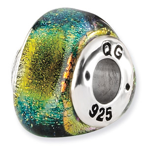 Yellow Dichroic Glass and .925 Sterling Silver Bead