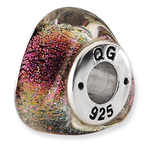 Sterling Silver Rainbow Dichroic Glass Triangle Bead