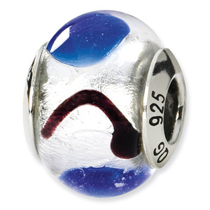 Sterling Silver White, Blue & Black Italian Murano Bead