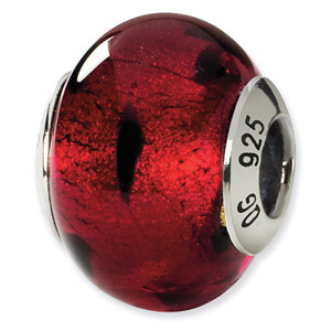 Ladybug Pattern Murano Glass and .925 Sterling Silver Bead