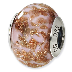 Sterling Silver Gold,  Brown & White Italian Murano Bead