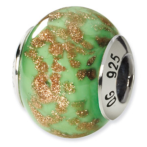 Green and Gold Murano Glass and .925 Sterling Silver Bead