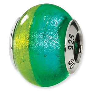 Sterling Silver Green & Blue Italian Murano Bead