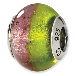Sterling Silver Pink & Green Italian Murano Bead
