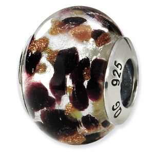 Sterling Silver  Brown & Black Italian Murano Bead