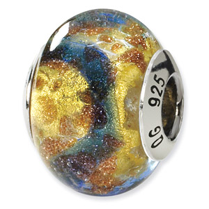 Sterling Silver Yellow & Gold & Blue Italian Murano Bead