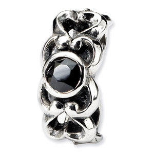 Sterling Silver Black CZ Connector Bead