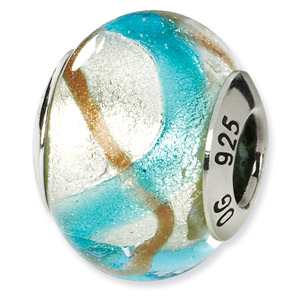 Blue, Silver and Gold Metallic Murano Glass and .925 Sterling Silver Bead