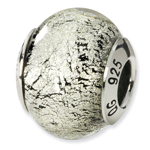 Silver and Black Murano Glass and .925 Sterling Silver Bead