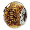 Sterling Silver Gold & Red Italian Murano Bead