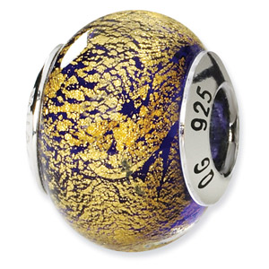 Purple and Gold Murano Glass and .925 Sterling Silver Bead