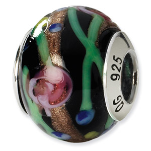 Sterling Silver Black & Green & Gold & Red Italian Murano Bead