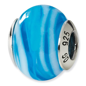 Blue and White Murano Glass and .925 Sterling Silver Bead