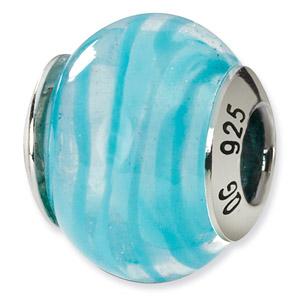 Sterling Silver Blue & White Italian Murano Bead