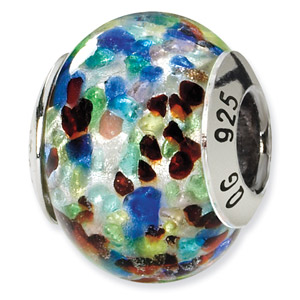 Multi-Colored Murano Glass and .925 Sterling Silver Bead