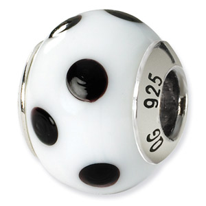 Hwite and Black Polka Dots Murano Glass and .925 Sterling Silver Bead
