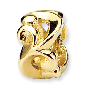 14K Yellow Gold Scroll Bali Bead