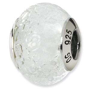 Forsted White Murano Glass and .925 Sterling Silver Bead
