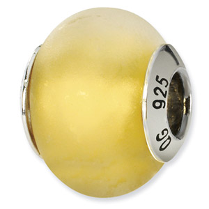 Matte Yellow Murano Glass and .925 Sterling Silver Bead