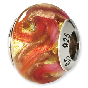 Sterling Silver Yellow, Red & Orange Italian Murano Bead