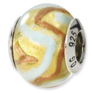 Sterling Silver Yellow, Gold & White Italian Murano Bead