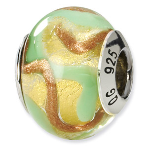 Sterling Silver Yellow, Gold & Green Italian Murano Bead