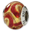 Sterling Silver Yellow, Gold & Red Italian Murano Bead