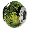 Sterling Silver Green & Black Italian Murano Bead