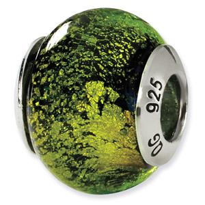 Sterling Silver Green & Black Italian Murano Bead