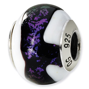 Sterling Silver  Purple & White Italian Murano Bead
