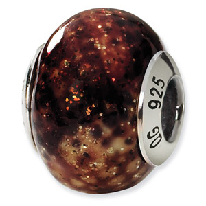 Sterling Silver Brown & Gold Italian Murano Bead