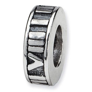 .925 Sterling Silver Roman Numeral Spacer Bead