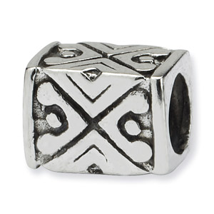 .925 Sterling Silver Tribal Design Bali Bead