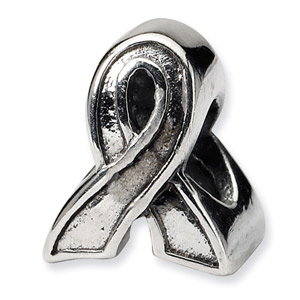 .925 Sterling Silver Awareness Ribbon Bead